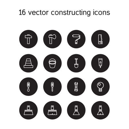 constructing: Constructing and building icons set. Repair symbols. Vector Illustration