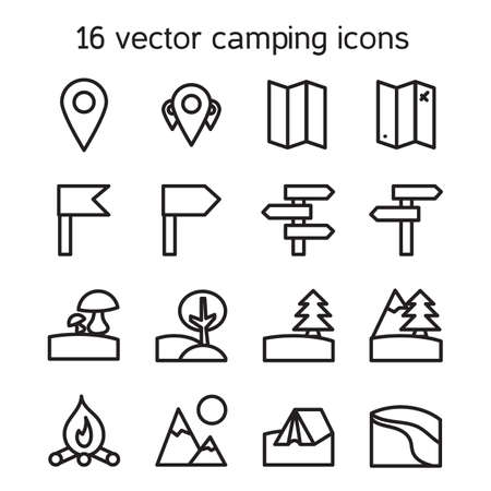 recreational pursuit: Set of camping, traveling and nature icons. Vector Illustration