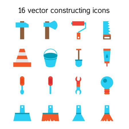 constructing: Constructing and building icons set. Repair symbols. Vector Illustration