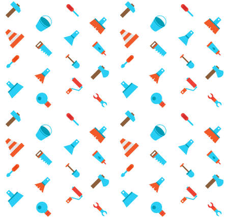 constructing: Constructing and building icons seamless pattern. Repair symbols. Vector