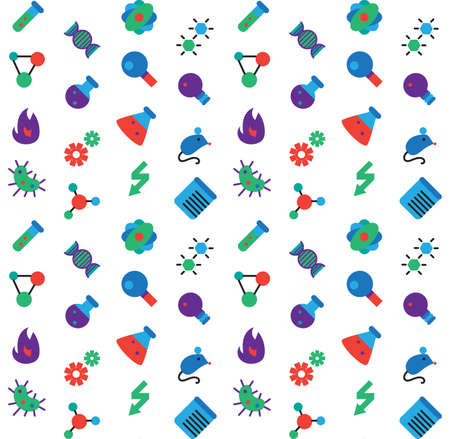 chemically: Science icons seamless pattern. Laboratory biology symbols. Vector