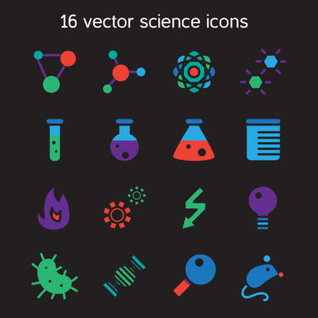 chemically: Science set icons. Laboratory biology symbols. Vector