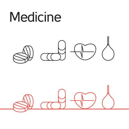 enema: Medicine icons set from cardiogram, pill and enema. Vector