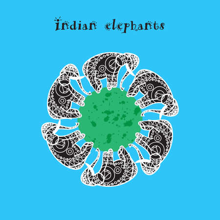 mendie: Isolated Indian elepnant and asian illustration. Vector