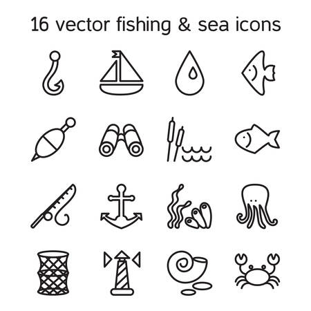 sedge: Isolated marine and fishing icons set. Vector Illustration