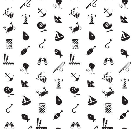 sedge: Isolated marine and fishing seamless pattern. Vector Illustration