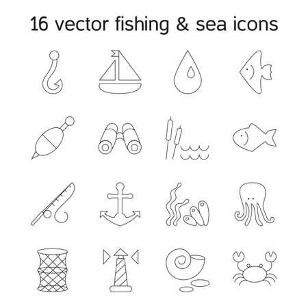 sedge: Isolated marine and fishing icons set. Vector Illustration
