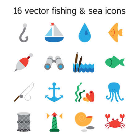 seine: Isolated marine and fishing icons set. Vector Illustration