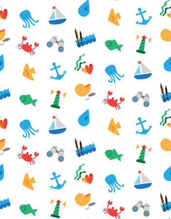 seine: Isolated marine and fishing seamless pattern. Vector Illustration