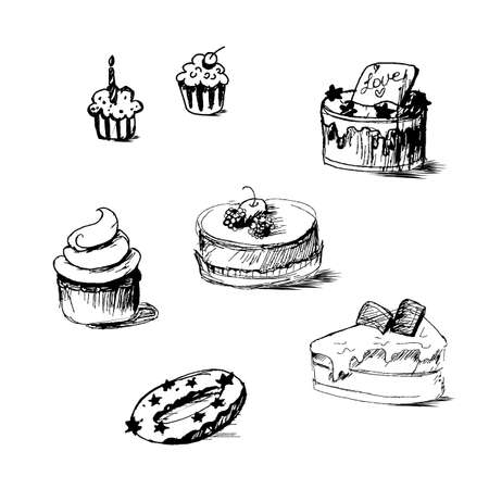 saint valentin coeur: Illustration of cakes by sketch, bakery sticker. Candy, sweet banner. Vector