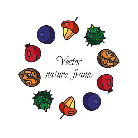 briar: Vintage fruits frame from hazelnut and chestnut, briar and nuts. Vector