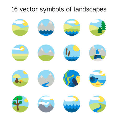 aqua icon: Landscape icons collection.  Nature symdols and paysages in round form. Vector