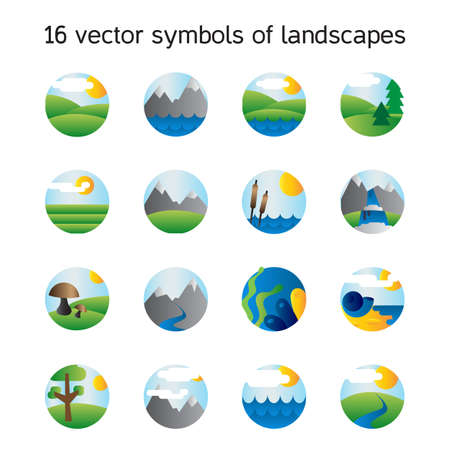 tree symbol: Landscape icons collection.  Nature symdols and paysages in round form. Vector