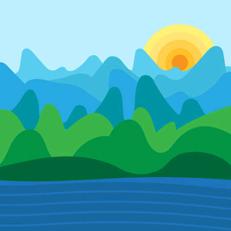 paysage: Mountain landscape and nature paysage illustration. Vector