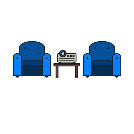 parley: Oficina sala de trabajo con proyector y c�modos asientos para las sesiones de presentaci�n multimedia en estilo moderno. Vector