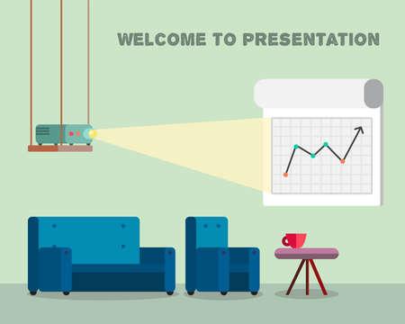 parley: Oficina sala de trabajo con el proyector, tablero bolardo y c�modos asientos para las sesiones de presentaci�n multimedia en estilo moderno. Vector
