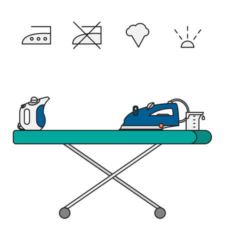 emitting: Isolated iron and hand steamer with symbols on ironing board and beaker. Modern vector illustration