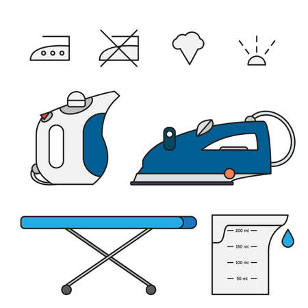 crisper: Isolated iron and hand steamer with symbols on ironing board and beaker. Modern vector illustration