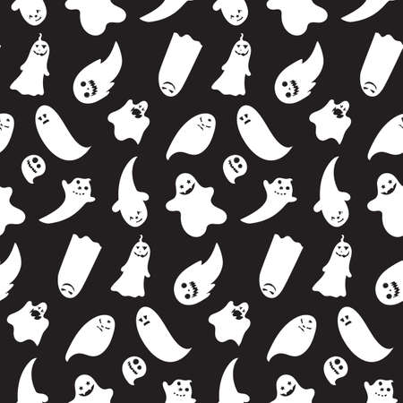 31th: Seamless pattern from halloween emotional ghosts. Vector