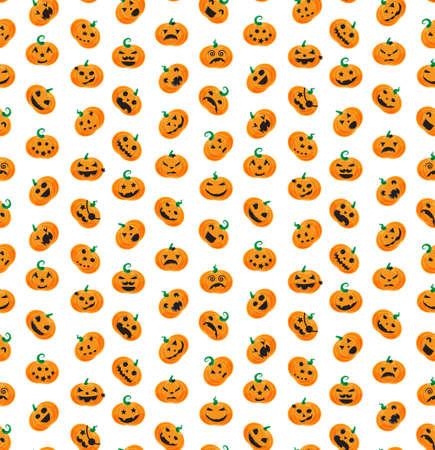 31th: Seamless pattern from Halloween emotional pumpkins. Vector