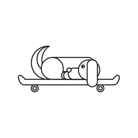 wagging: Dog sitting on a skateboard. Vet symbol. Delivery icon. Vector