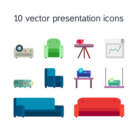 board meeting: Office work icons set of projector, board bollard and comfortable seats for multimedia presentation sessions in modern style. Vector Illustration