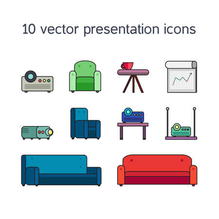 bollard: Office work icons set of projector, board bollard and comfortable seats for multimedia presentation sessions in modern style. Vector Illustration