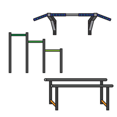 sports equipment: Sports equipment for street workout and pull-up bar. Vector
