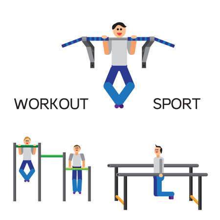 muscularity: Sportman with sports equipment for street workout and pull-up bar. Vector