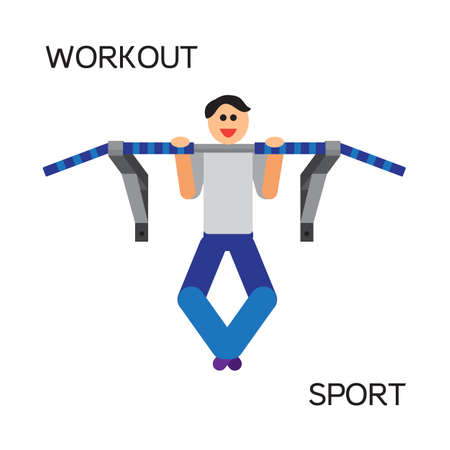 sports equipment: Sportman with sports equipment for street workout and pull-up bar. Vector