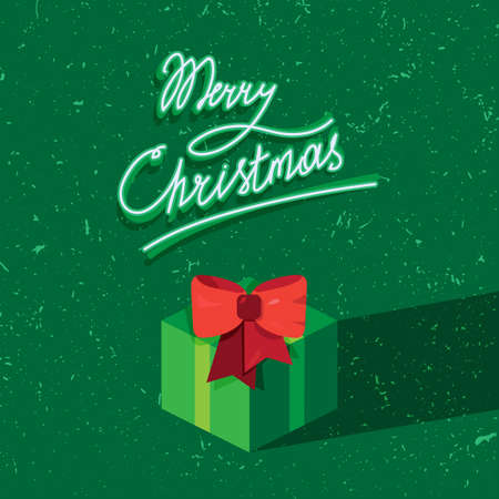 donative: Hand written lettering of Merry Christmas text for greeting card in grunge and vintage style with gift. Vector Illustration