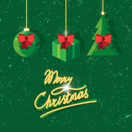 donative: Hand written lettering of Merry Christmas text for greeting card in grunge and vintage style with toy, fir and gift. Vector Illustration