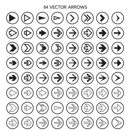 top pointer: Isolated arrows set, undo and previous buttons. Vector