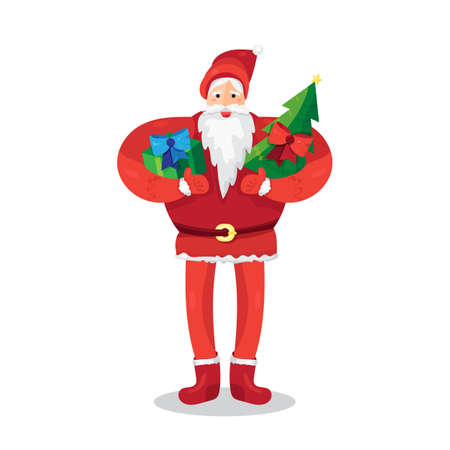 Merry Christmas greeting with Santa Claus or Father Frost with gift and fir in hands.