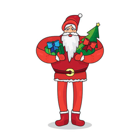 father frost: Merry Christmas greeting with Santa Claus or Father Frost with gift and fir in hands