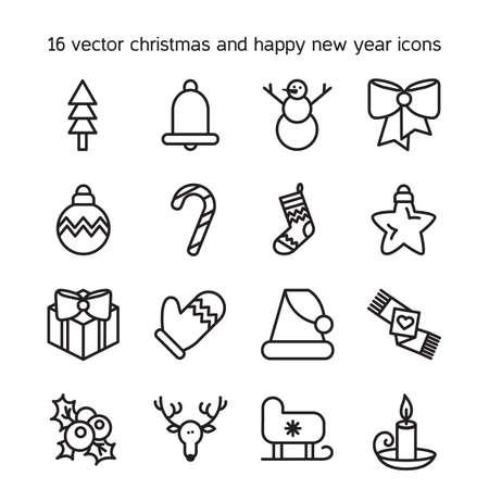 candela: Icone Buon Natale insieme. Nuovi simboli felice anno nuovo. Segni vacanza invernale. Vettoriali
