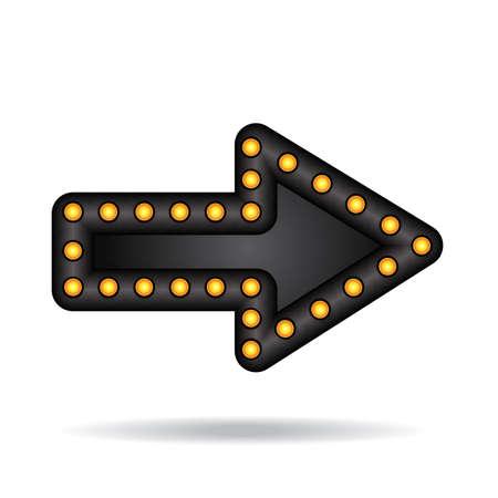 flecha direccion: Ne�n brillante Electr�nico flecha con l�mparas. Bar, partido o puntero de vacaciones.