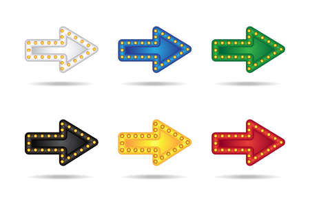 go to store: Electronic glowing neon arrows set with lamps. Bar, party or holiday pointer. Illustration