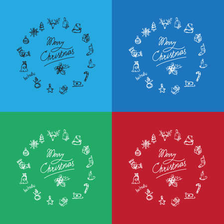 winter holiday: Merry Christmas icons in view wreath. Happy new year symbols. Winter holiday signs. Illustration