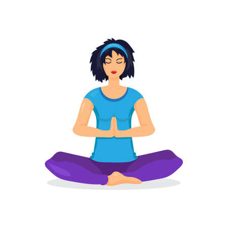 physically: Training yoga young woman in the prayer position isolated on white background.