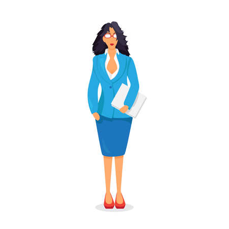 dress code: Business lady with documents. Office dress code. Vector