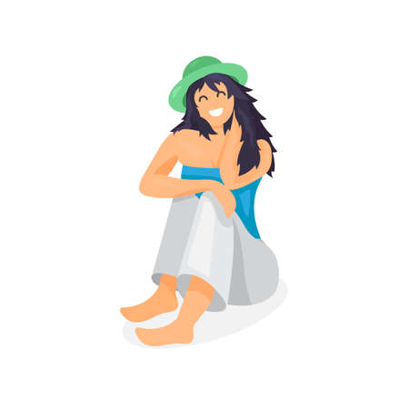 relax: Relaxing woman in hat. Pretty traveler. Vector Illustration