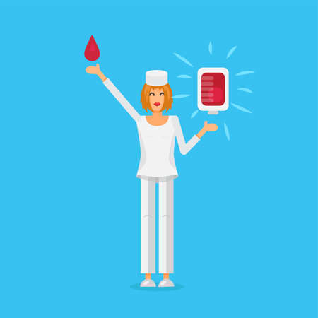 donor: Nurse with Blood Bag for donor. Donate Blood Illustration. Vector