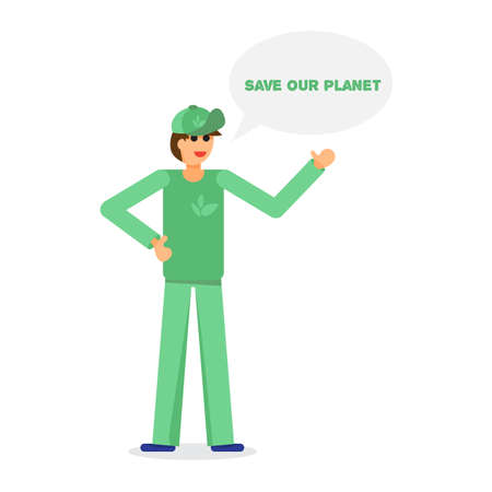 activist: Green activist with text. Save our planet. Ecology concept. Vector Illustration