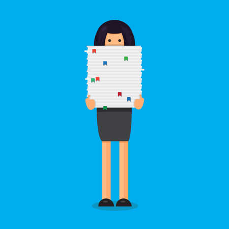 Office worker with big stack of paper. She has a lot of work. All hands job illustration. Vector