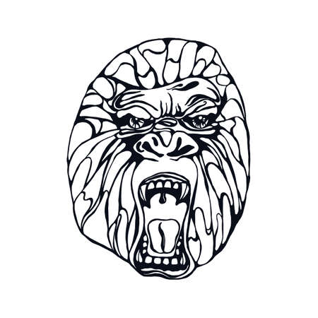 growling: Growling detailed gorilla in tattoo style. Design for t-shirt, poster, bag. Vector