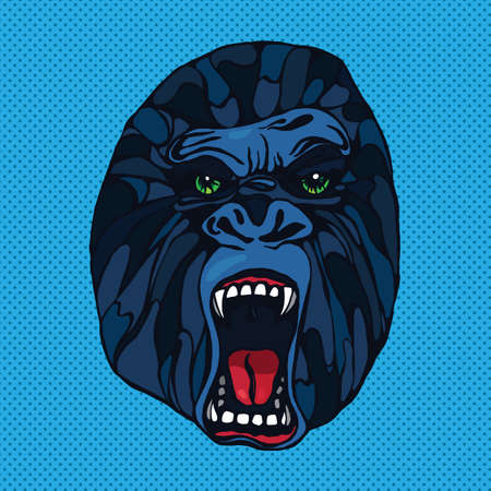 growling: Growling detailed gorilla in pop art style. Design for t-shirt, poster, bag. Vector