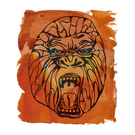 growling: Growling detailed gorilla with aquarelle spot. Design for t-shirt, poster, bag. Vector