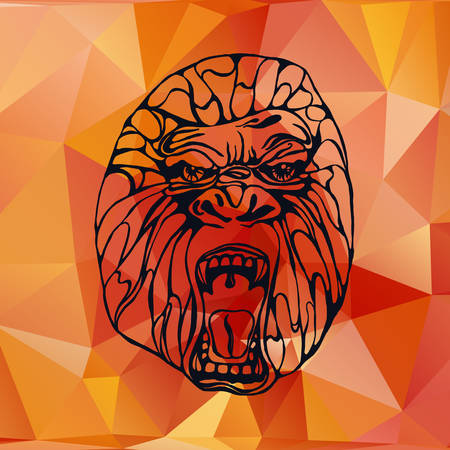 growling: Growling detailed gorilla in polygonal and triangle style. Low poly. Design for t-shirt, poster, bag. Vector