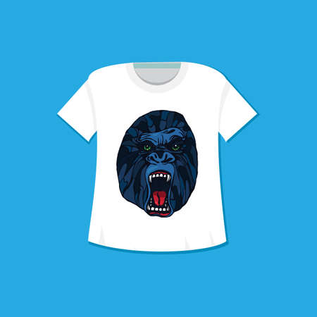 growling: Growling detailed gorilla in cartoon style. Print and template design for t-shirt, poster, bag. Vector